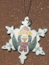 Wood Christmas Ornament  WD1190 - Snowflake Peguin  - $1.95