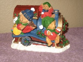 Vintage Christmas Holiday Bears Train Piggy Bank - Imagination in Action... - $10.84