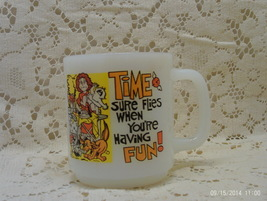 "Vintage Glasbake Milk Glass Time Sure Flies..."" Coffee Cup / Busy Mom Co... - $7.50"