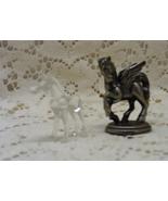 Vintage Miniature Pewter Pegusus Figurine & Tiny Glass Horse Figurine - $9.50