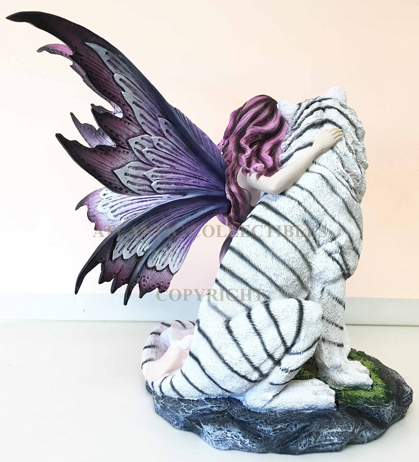 Large Magenta Lavender Fairy Embracing Siberian White Tiger Statue Home Decor My