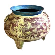 Decorative Iron Pot Blue/Yellow/Red/Green Planter. Plant Flower Home Ga... - $292.05