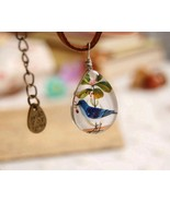 Fresh Forest Style Double-faced Blue Bird Acrylic Pendant Necklace - $8.99