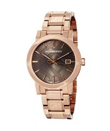NEW BURBERRY BU9005 LADIES THE CITY ROSE GOLD CHECK DIAL WATCH -2 YEARS ... - $209.00