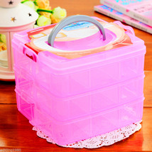 3 Layer 18 compartments Plastic Adjustable Boxes Storage Holder Organize... - $10.05 CAD