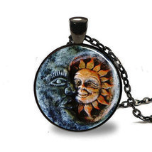 Sun and Moon Pendant, Glass Tile Sun and Moon Necklace, Sun and Moon jew... - $3.99