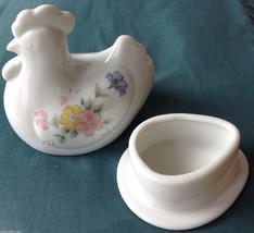 Ring Holder Trinket Storage Porcelain Handcrafted Hen Floral Design Acti... - $11.87