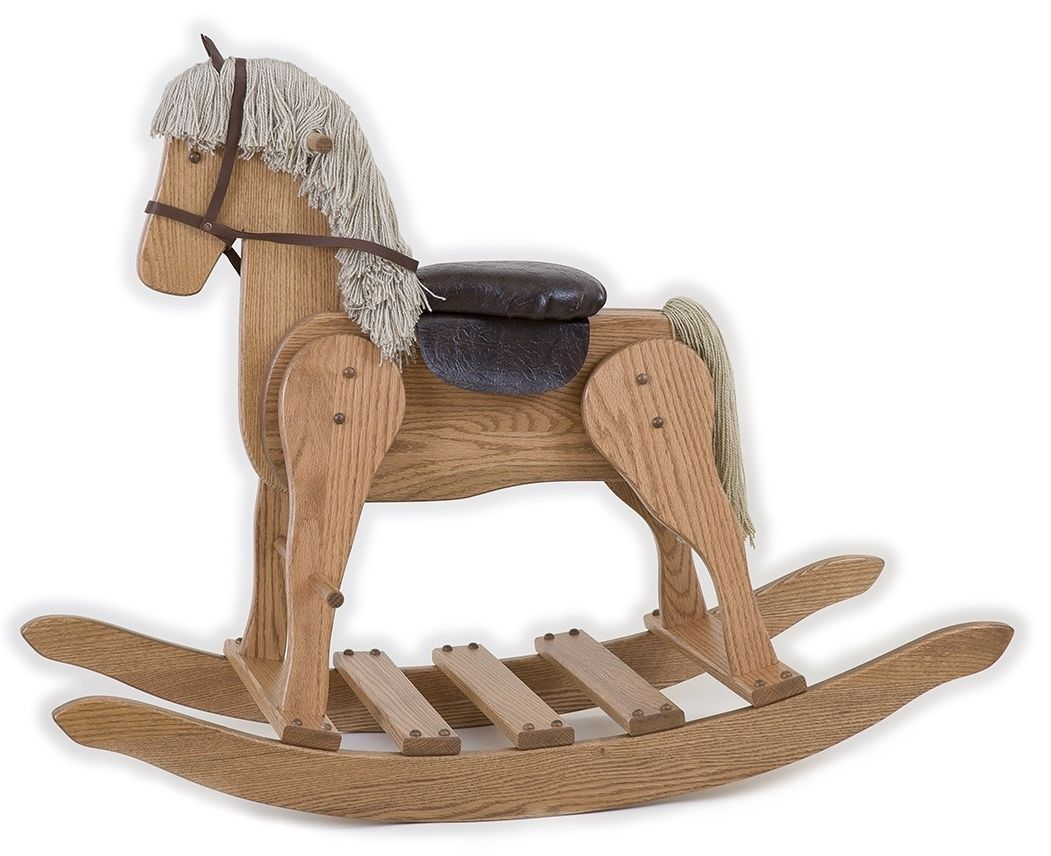 LARGE WOODEN ROCKING HORSE Handmade Toddler Toy Amish Furniture MEDIUM OAK