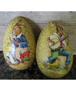 RARE ANTIQUE GERMAN PAPER MACHE EASTER EGG Jazz Music Rabbits CANDY CONT... - $186.29