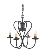 3D WROUGHT IRON HEART CHANDELIER Primitive Country 4 Candle USA Handmade... - $210.67