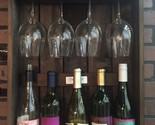 5 WINE BOTTLE & 4 GLASS SHADOWBOX Amish Handmade Wood Wall Wine Rack Display USA