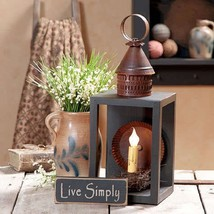 Wood & Metal Lantern with Antiqued Reflector in... - $97.96