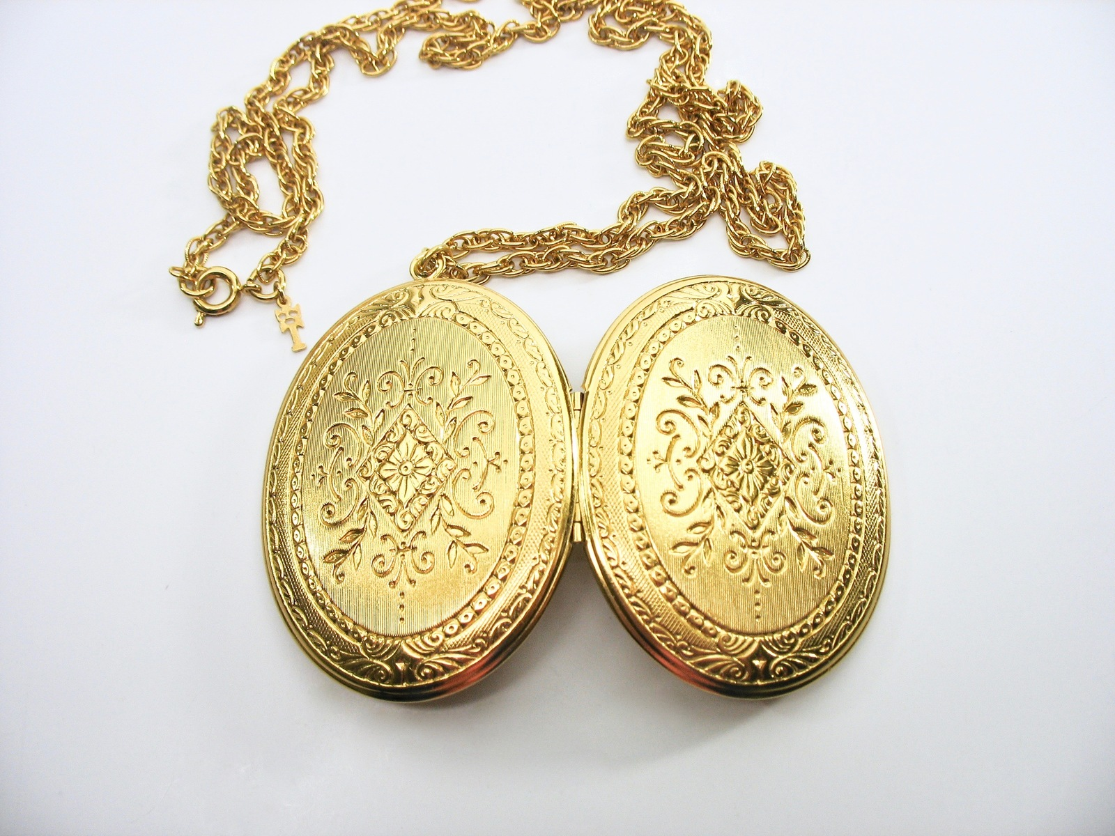 Crown Trifari Locket Necklace, Large, Gold Tone, 1960's, Embossed, Double-Sided