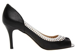 Womens Shoes Ivanka Trump CANDICE Open Toe Pumps Heels Black White Multi - $71.99