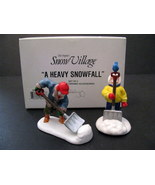 Dept 56 Snow Village A Heavy Snowfall Set of 2 Ceramic Mint condition - $16.99