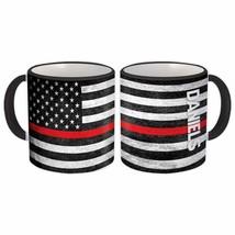 DANIELS Family Name : American Flag Gift Mug Firefighter Thin Line Perso... - $13.37+