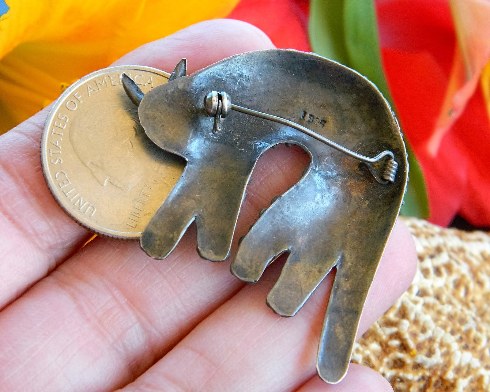 Vintage Cat Brooch Pin Human Face Stylized Bumpy Sterling Silver 925