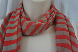"American Rag Scarf Sz OS Multi Color Red Stripe ""Gwen"" Chic Casual Sheer... - $12.09"