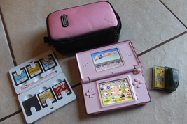 Coral Pink Nintendo DS Lite Handheld Console System w 6 Games and case n... - $59.00