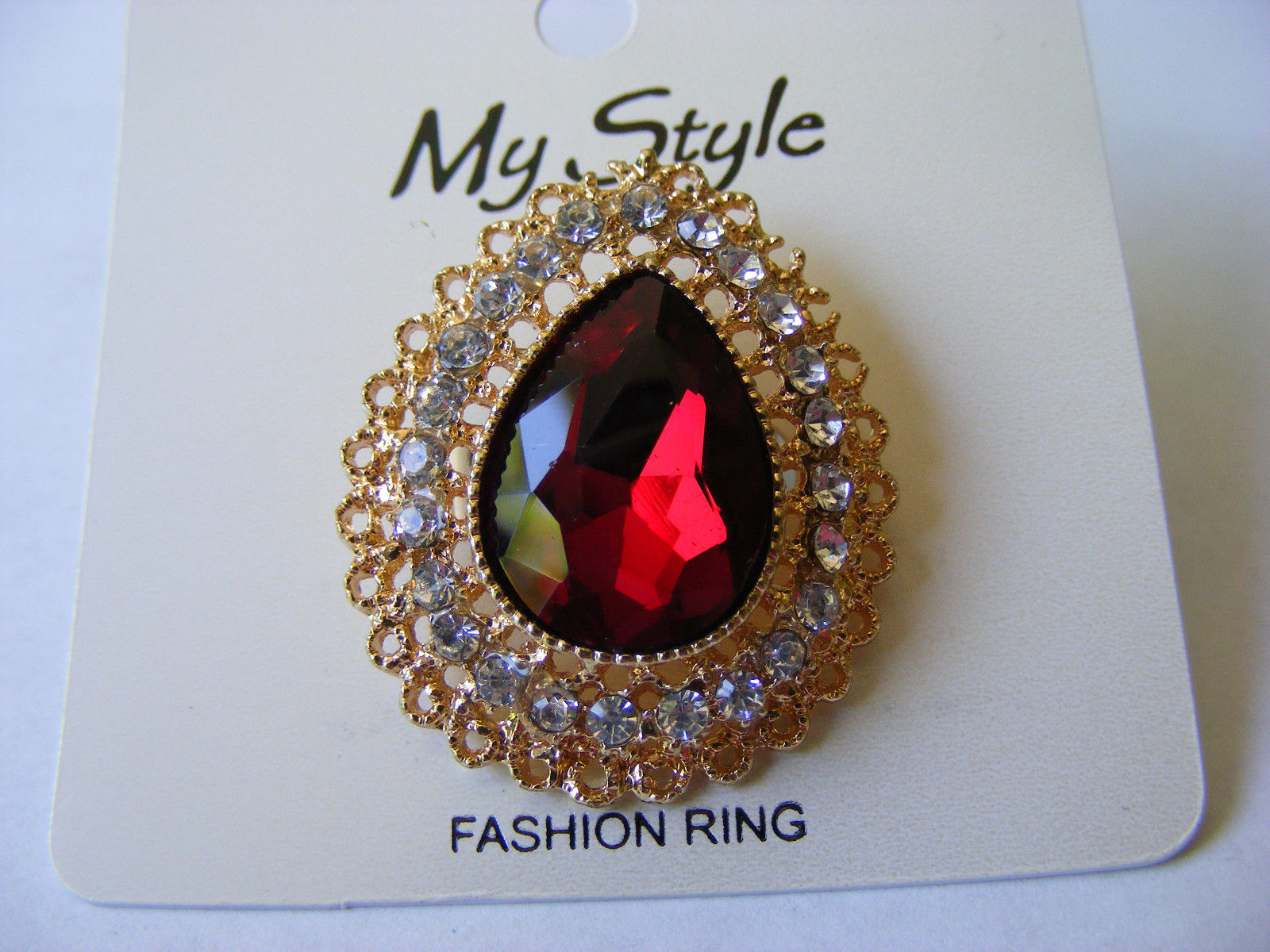 Primary image for TEARDROP  RED FACETED GLASS CABOCHON GOLD SETTING RHINESTONES  ADJUSABLE RING