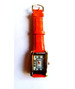 GOSSIP BRIGHT ORANGE CROCODILE EMBOSSED LEATHER STRAP BAND MOP DIAL FACE... - $17.81