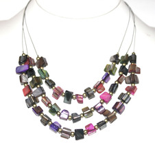 Mother of Pearl Multi Color Sea Shell Ocean Triple Layer Wire Beaded Necklace - $2.99