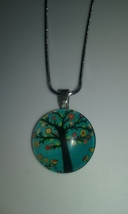 Handmade Round Glass Tree Of Life Pendant On Silver Chain Necklace 5 - $6.99