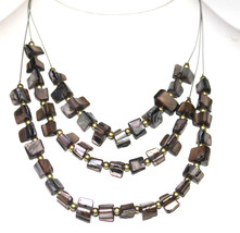 Mother of Pearl Grey Black Sea Shell Ocean Triple Layer Wire Beaded Necklace - $1.99