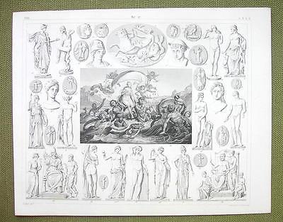 APHRODITE BIRTH Mythology Gods Vesta Apollo Diana - 1844 SUPERB Engraving Print