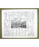 APHRODITE BIRTH Mythology Gods Vesta Apollo Diana - 1844 SUPERB Engravin... - $24.70