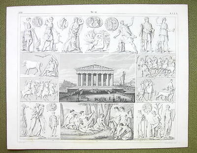 ATHENS Parthenon Festival Mythology Gods Nymphs  - 1844 SUPERB Engraving Print