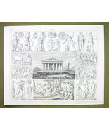 ATHENS Parthenon Festival Mythology Gods Nymphs  - 1844 SUPERB Engraving... - $24.70