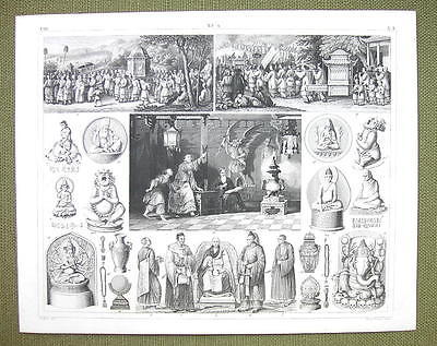 CHINA DevoteesSticks of Fate Occult Mythology Rites- 1844 SUPERB Engraving Print