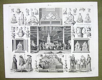 CHINA Canton  Worship of Fo Religion Rites Budhism - 1844 SUPERB Engraving Print