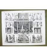CHINA Canton  Worship of Fo Religion Rites Budhism - 1844 SUPERB Engravi... - $24.70