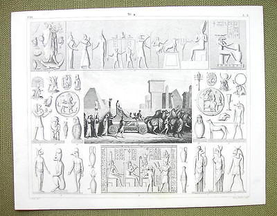 EGYPT Gods Mythology Isis Abraxas Gems Sphinx - 1844 SUPERB Engraving Print