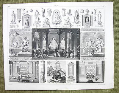 CHINA Temple ay Honan Mythology Deities Occult - 1844 SUPERB Engraving Print