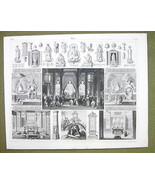 CHINA Temple ay Honan Mythology Deities Occult - 1844 SUPERB Engraving P... - $24.70