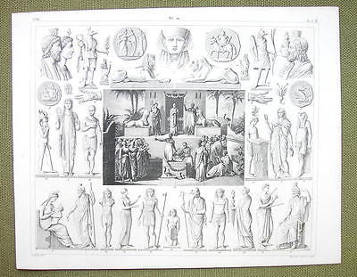 EGYPT Sacrifice to Isis Gods Idols Mythology - 1844 SUPERB Engraving Print