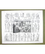 EGYPT Sacrifice to Isis Gods Idols Mythology - 1844 SUPERB Engraving Print - $24.70