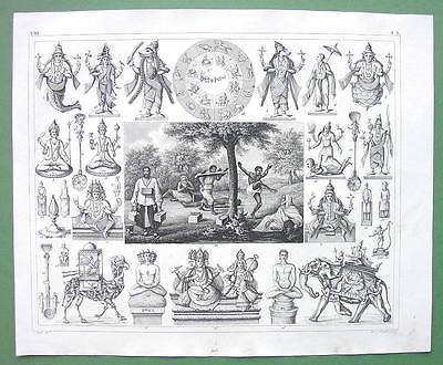 INDIA Hindoo Penitents SIva Rama Mythology Rites - 1844 SUPERB Engraving Print