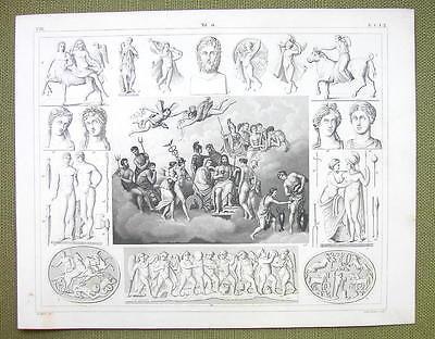 GODS Assembly Roman Greek Mythology Zeus Eros Ares - 1844 SUPERB Engraving Print