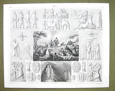 PERSIA Idols Mythology Animals Darun Celebration - 1844 SUPERB Engraving Print
