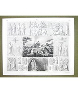 PERSIA Idols Mythology Animals Darun Celebration - 1844 SUPERB Engraving... - $24.70