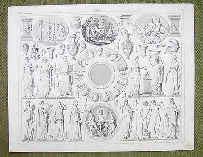 MYTHOLOGY 12 Planets of Gods Idols Seasons Priests - 1844 SUPERB Engraving Print