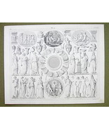 MYTHOLOGY 12 Planets of Gods Idols Seasons Priests - 1844 SUPERB Engravi... - $24.70