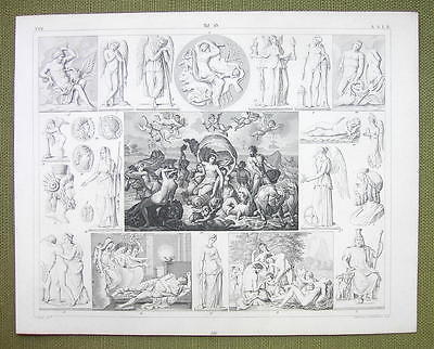 POSEIFON Triumps Greek Gods Mythology Death Sleep - 1844 SUPERB Engraving Print