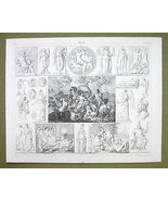 POSEIFON Triumps Greek Gods Mythology Death Sleep - 1844 SUPERB Engravin... - $24.70