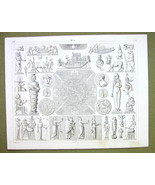 RGYPT Gods Idol Rites Isis All Seeing Eye Sacred - 1844 SUPERB Engraving... - $24.70