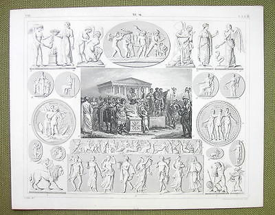 ROMAN SACRIFICE Gods Mythology Psyche Eros Graces - 1844 SUPERB Engraving Print